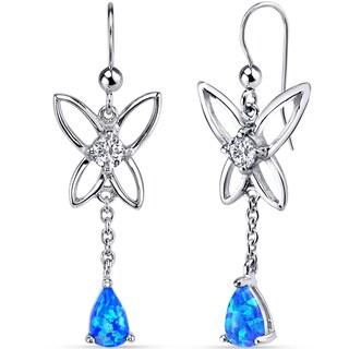 Oravo Sterling Silver Created Blue Opal Butterfly Drop Earrings