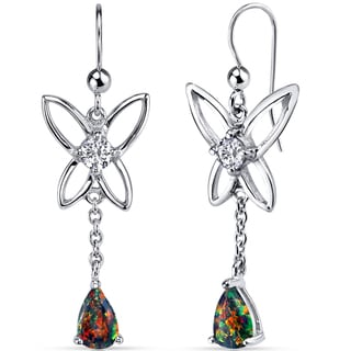 Oravo Women's Sterling Silver 1ct Created Black Opal Butterfly Drop Earrings