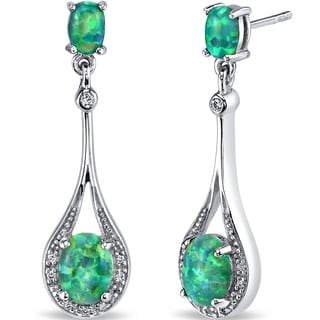 Oravo 3.75-ct Created Green Opal Paddle Drop Earrings
