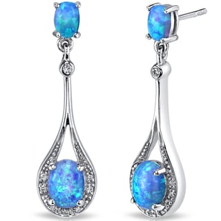 Oravo 3.75-ct Created Blue Opal Paddle Drop Earrings