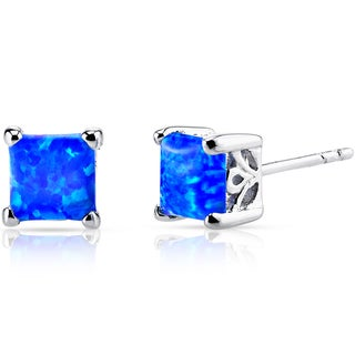 Oravo Sterling Silver 1.25ct Princess-cut Created Blue Opal Stud Earrings