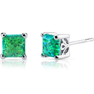 Oravo Sterling Silver 1.25ct Princess-cut Created Green Opal Stud Earrings