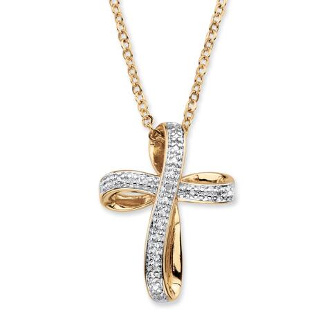 Yellow Gold-Plated Cross Pendant (18mm) Genuine Diamond Accent