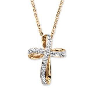 18k Yellow Goldplated White Diamond Accent Ribbon Loop Cross Pendant Necklace