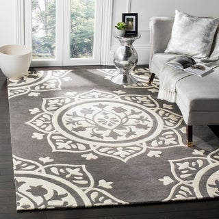 Safavieh Handmade Bella Dark Grey / Ivory Wool Rug (6' x 9')