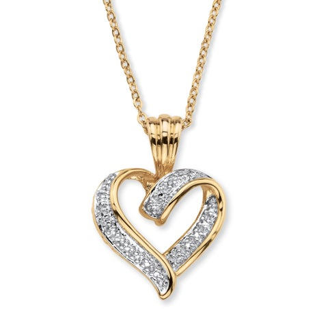 Yellow Gold-Plated Heart Pendant (19.5mm) Genuine Diamond Accent