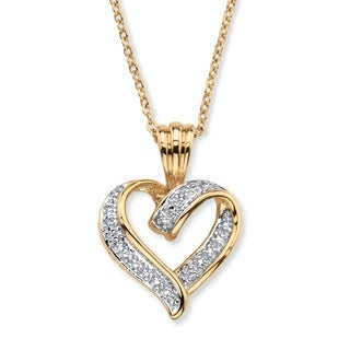 Link to Yellow Gold-Plated Heart Pendant (19.5mm) Genuine Diamond Accent Similar Items in Necklaces
