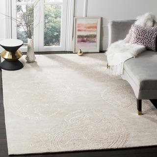 Safavieh Handmade Bella Paisley Silver / Beige Wool Rug (6' x 9')