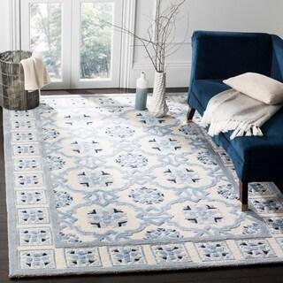 Safavieh Handmade Bella Ivory / Blue Wool Rug (6' x 9')