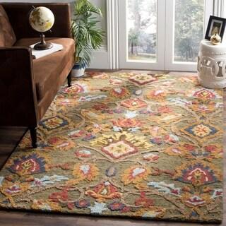 Safavieh Handmade Blossom Green / Multicolored Wool Rug (6' x 9')