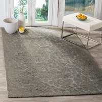 Safavieh Handmade Blossom Abstract Grey / Orange Wool Rug - 5' x 8'