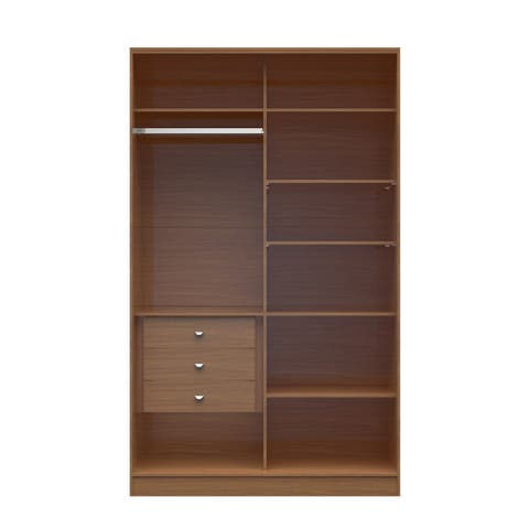 Manhattan Comfort Chelsea 1.0 White/Brown 54.33-inch Wide Full Wardrobe with 3 Drawers