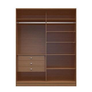 Manhattan Comfort Chelsea 2.0 Brown Wood 70.07-inch Wide 3-drawer Full Wardrobe