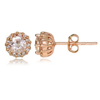 Glitzy Rocks 18k Rose Gold over Silver Morganite amd White Topaz 4mm Halo Stud Earrings