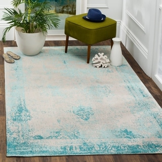 Safavieh Classic Vintage Turquoise Cotton Abstract Distressed Rug (5' x 8')