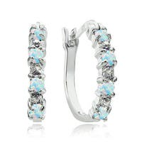 Glitzy Rocks Sterling Silver Created Opal and Diamond Accent Hoop Earrings - White