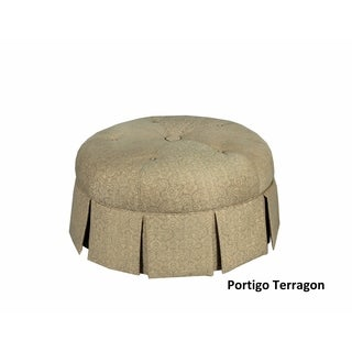 Ava Brown Wood/Polyester/Linen Round Pleated Upholstered Ottoman