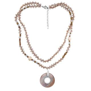 Sterling Silver Pearl Shell Glass Necklace