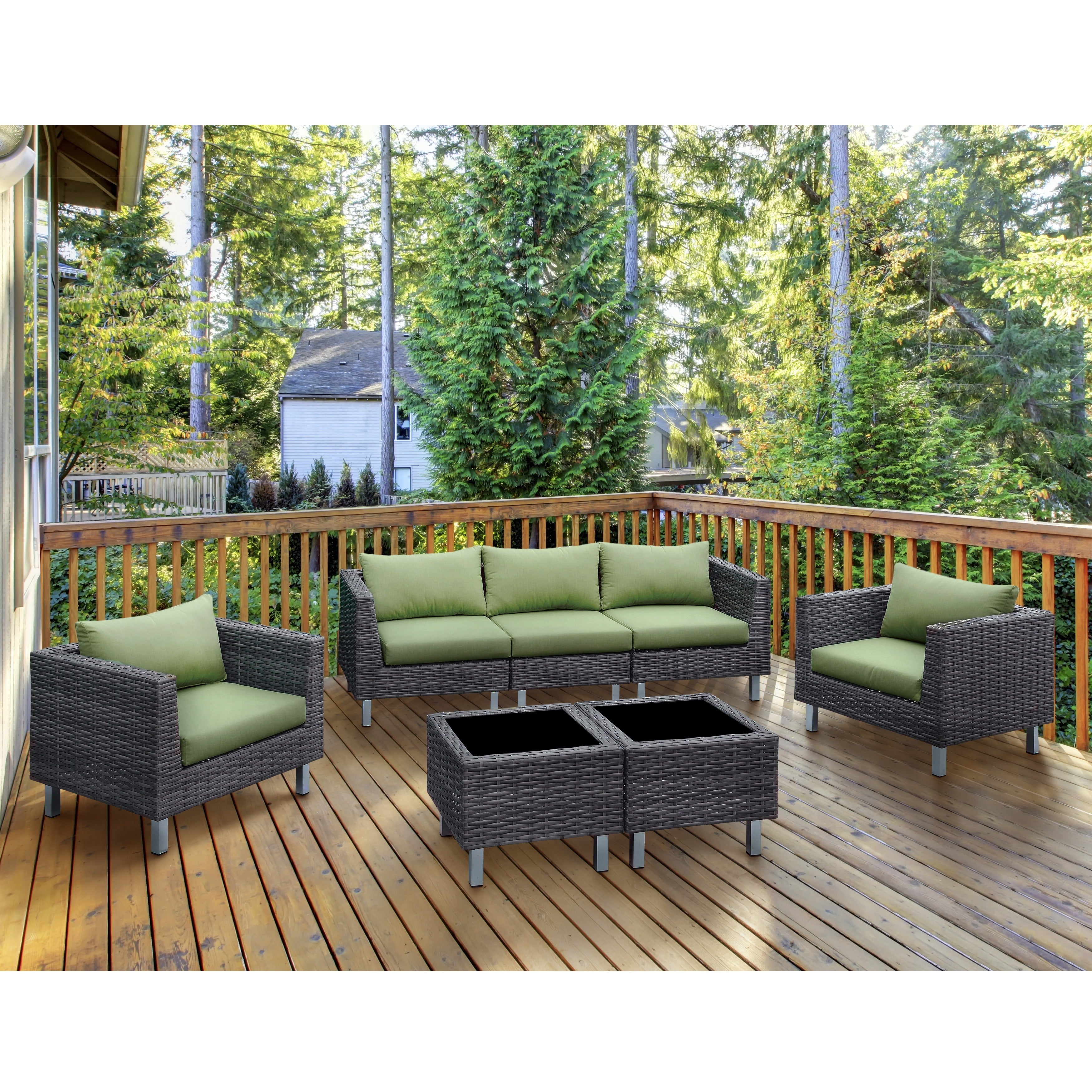 Furniture Of America Baja Contemporary 7 Piece Weather Resistant Patio Seating And Table Set Overstock 12675236