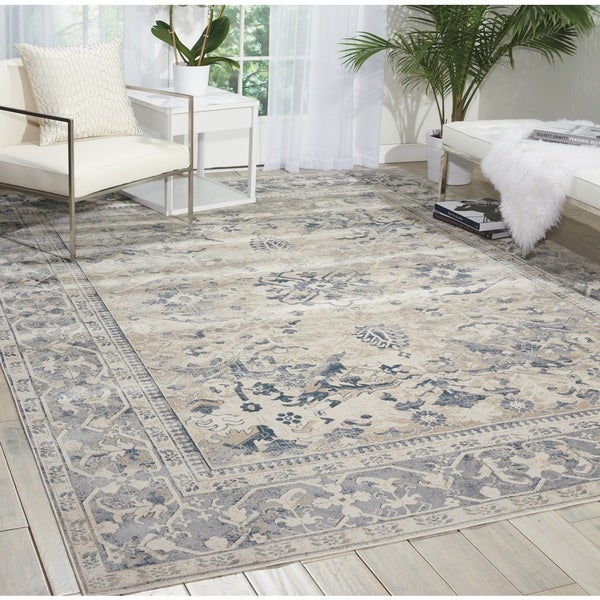 Shop Kathy Ireland Malta Ivory/Blue Area Rug