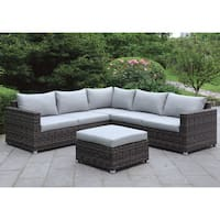 Furniture of America Brea Contemporary 2-piece Grey Patio Sectional and Ottoman Set
