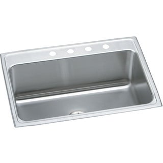"Elkay Lustertone Stainless Steel 31"" x 22"" x 10-1/8"", Single Bowl Top Mount Sink with Perfect Drain"