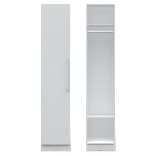 Manhattan Comfort Chelsea Natural-finished Wood and Aluminum 17.71-inch Wide Long Hanging Closet With Door