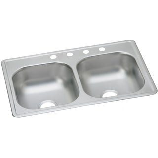 Elkay Stainless Steel 20-gauge Double Bowl 33-inch x 19-inch x 8-inch Top-mount Kitchen Sink