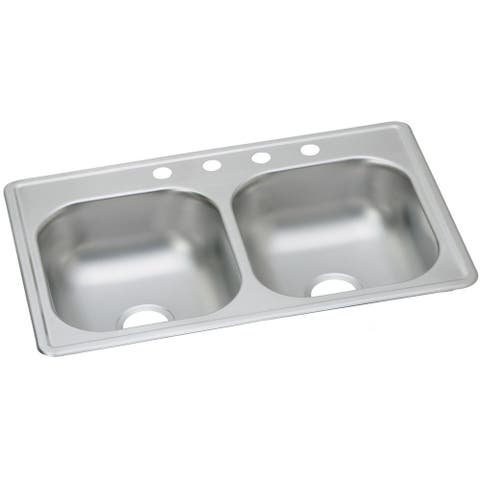"""Elkay Dayton Stainless Steel 33"""" x 19"""" x 8"""", Equal Double Bowl Top Mount Sink"""