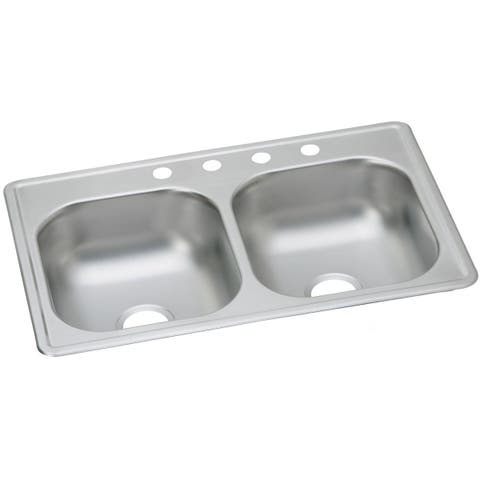 "Elkay Dayton Stainless Steel 33"" x 19"" x 8"", Equal Double Bowl Top Mount Sink"