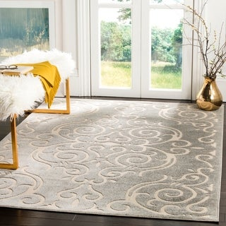 Safavieh Indoor / Outdoor Cottage Scrolling Vines Grey / Cream Rug (5' x 8')