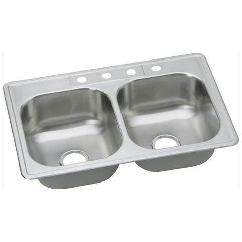 Elkay 20-gauge Stainless Steel 33-inch x 22-inch x 8.0625-inch Double Bowl Top Mount Kitchen Sink