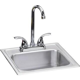 Elkay 20 Gauge Stainless Steel 15-inch x 15-inch x 6-inch Single Bowl Top Mount Bar/Prep Sink Kit