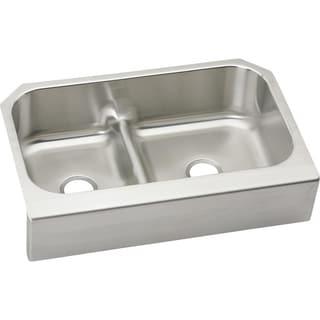 Elkay 18-gauge Stainless Steel 34.605-inch x 23.085-inch x 8.75-inch Double-bowl Apron-front Undermount Kitchen Sink