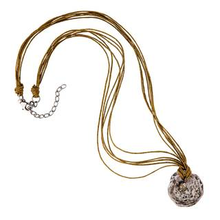 Sterling Silver Pyrite Cord Necklace
