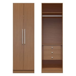 Manhattan Comfort Chelsea 1.0 Wood and Aluminum 27.55-inch Wide Basic Wardrobe Closet With 3 Drawers and 2 Doors