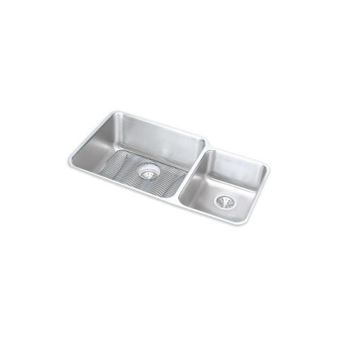 "Elkay Lustertone Stainless Steel 35-1/4"" x 20-1/2"" x 9-7/8"", Offset 60/40 Double Bowl Undermount Sink Kit"