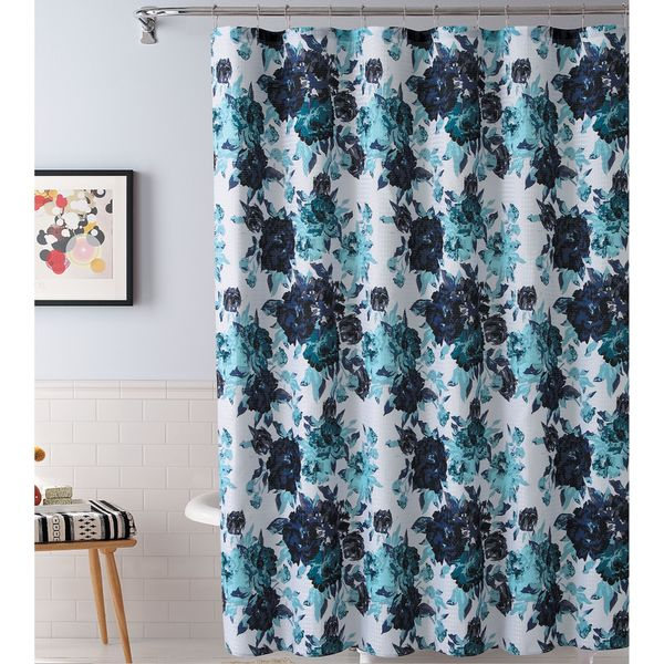 Esther by Artisitc Linen Easy To Hang Shower Curtain With 12 Roller Hooks