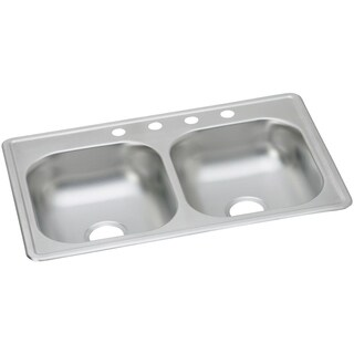 Elkay 23-gauge Stainless Steel 33-inch x 19-inch x 6-inch Double Bowl Top Mount Kitchen Sink