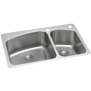 Elkay 18-gauge Stainless-steel 33-inch x 22-inch x 9-inch Double-bowl Dual / Universal-mount Kitchen Sink Kit