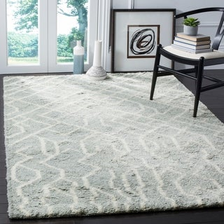 Safavieh Handmade Casablanca Blue / Ivory New Zealand Wool Rug (5' x 8')