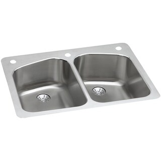 Elkay 18-gauge Stainless Steel 33-inch Double Bowl Dual Universal Mount Kitchen Sink Kit