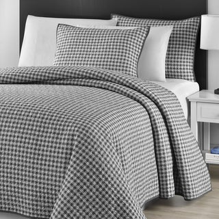 Comfy Bedding Checkered Gray and Off White 3-piece Coverlet Set