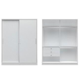 Manhattan Comfort Chelsea Brown MDF Wide Sliding-door 3-drawer Wardrobe