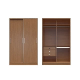 Manhattan Comfort Chelsea 1.0 54.33-inch Wide Double Basic Wardrobe With 3 Drawers and 2 Sliding Doors
