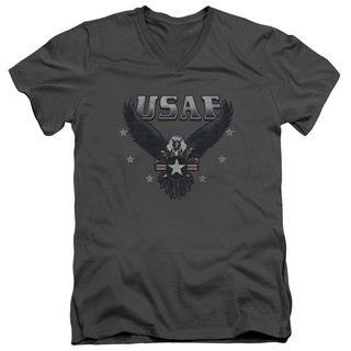 Air Force/Incoming Short Sleeve Adult T-Shirt V-Neck 30/1 in Charcoal