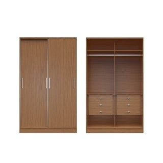 Manhattan Comfort Chelsea Brown MDF Sliding-door 6-drawer Wardrobe
