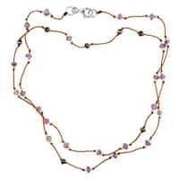 Multicolored Sterling Silver Amethyst Beaded Silk Cord Necklace