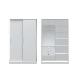 Manhattan Comfort Chelsea 1.0 White/Brown 54.33-inch Wide Full Wardrobe with 3 Drawers and 2 Sliding Doors