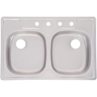 Kindred Essential Silver Stainless Steel Double-basin Sink